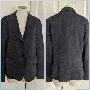 Lafayette 148 navy metallic button blazer jacket
